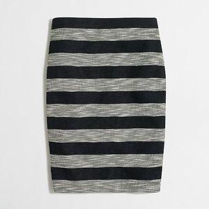 J.Crew Black and White Striped Pencil Skirt